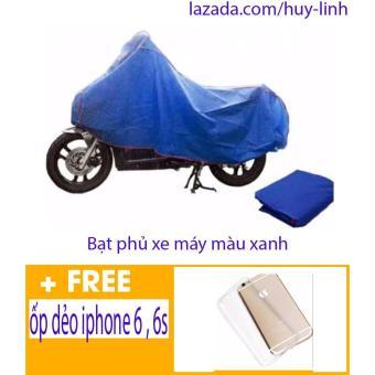 Bạt phủ xe máy chất lượng tốt( màu xanh dương) tặng ốp iphone 6, 6s