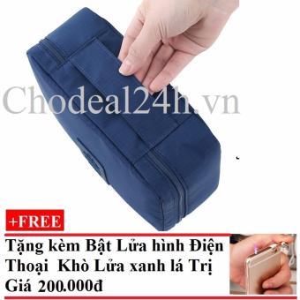 Túi đựng đồ cá nhân dành cho Nam chodeal24h.vn (xanh đậm) + Tặng Bật Lửa Hình Điện Thoại