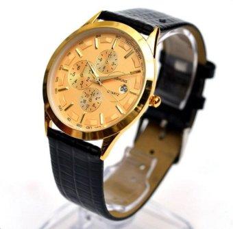 Đồng hồ nam dây da Baishuns BS03( Vàng phối đen)