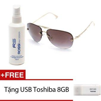 Bộ 1 kính mát nữ và 1 chai nước rửa kính MKH XL2222 (Vàng ánh Đen) + Tặng 1 USB Toshiba 8GB