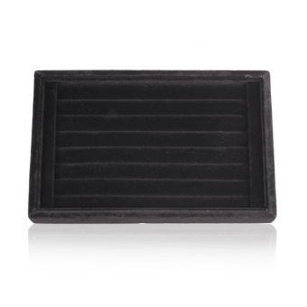 Soft Velvet Ear Stud Finger Ring Jewelry Display Tray Holder Case (Black)