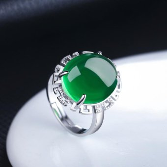 Fashion Green Agate Retro Chalcedony Adjustable Ring for Women, Silver Plated - intl