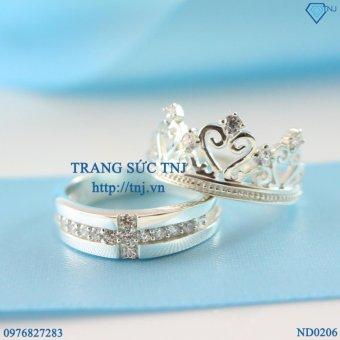 nhẫn đôi nhẫn cặp bạc queen king ring ND0206 - Trang Sức TNJ