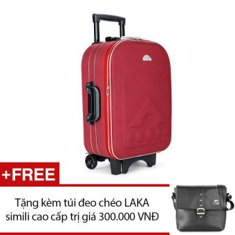Vali du lịch kéo tay BiTi 20 inch(Đỏ) + Tặng 1 túi đeo chéo LAKA simili