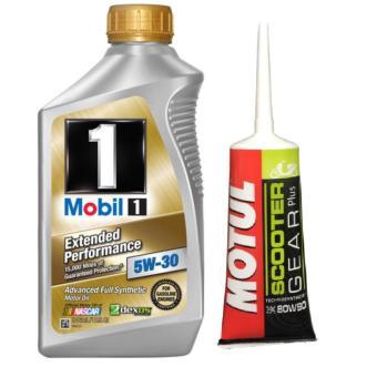 Combo nhớt tổng hợp cao cấp xe máy, ô tô Mobil 1 EP 5W30 946ml (USA) và nhớt hộp số Motul Gear Oil