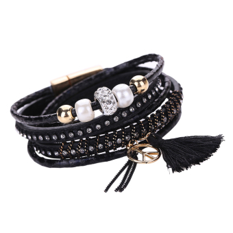 Fashion Tassel Leather Megnetic Bracelets Diamond Alloy Bracelet Black - intl