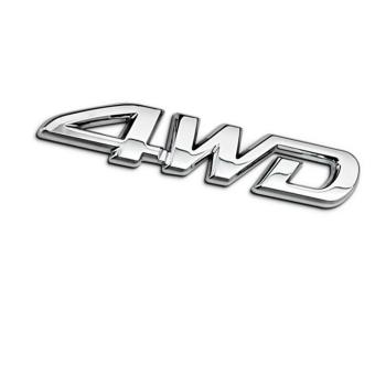 Tem chữ 4WD kim loại dán xe ô tô (Trắng bạc)