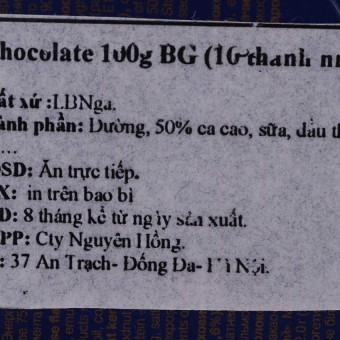 Chocolate Babaevskiy CCL100GBG 100g 10 thanh nhỏ