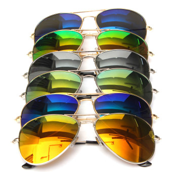 Mirror Avaiator Pilot Style Silver Metal Frame Sunglasses Shades UV400 (Silver)