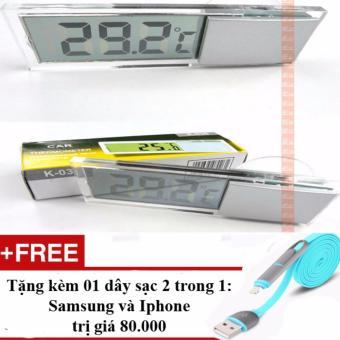 Nhiệt kế treo gương và dán lên kính ô tô K036 + Tặng 01 dây sạc điện thoại 2 trong 1 cho Iphone và Samsung