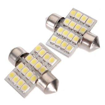 31mm 16 SMD LED Car Light DC12V Pure White 2pcs - intl