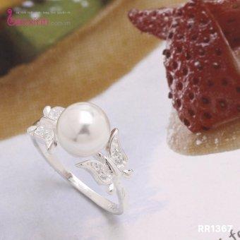 Nhẫn nữ trang sức bạc Ý S925 Bạc Xinh - Cánh bướm và Ngọc trai RR1367 (size9)