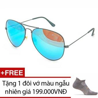 Mua Kính mát unisex thời trang 3D-DLP SV3026-F7A5-DTTX (Đen tráng thủy xanh) + Tặng 1 đôi vớ màu ngẫu nhiên (Trắng - Xám - Đen) giá tốt nhất