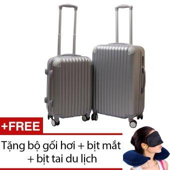 Bộ 2 vali nhựa cứng SAM 20+24 inch (Ghi) + Tặng bộ 1 gối hơi + 1 bịt mắt + 1 cặp bịt tai du lịch