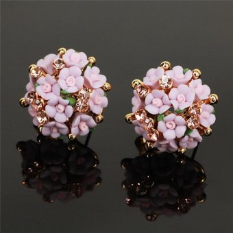 LALANG Fashion Cute Jewelry Rose Clay Rhinestone Summer Style Stud Earrings Purple - intl