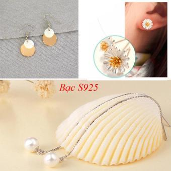Combo 3 đôi bông tai nữ bạc 925 hoa cúc vàng, ngọc trai dáng dài TPO-C303