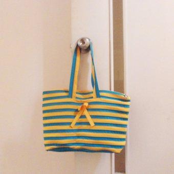 Túi xách dây kéo thời trang (vàng xanh da trời)