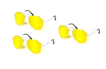Bộ 3 kính mắt đi đêm chống chói (Vàng) .