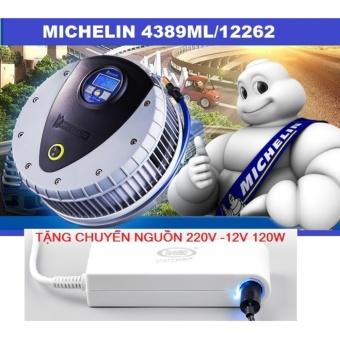 Máy bơm lốp 12V ô tô MICHELIN 4389ML 12262 + Chuyển nguồn 220v -12v chuẩn 120w cao cấp.