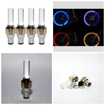 Bộ 4 đèn LED gắn van bánh xe đạp, xe máy, xe ô tô (Màu trắng)