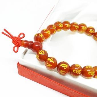 Vòng đeo tay đá mã não đỏ khắc kinh phật phong thủy