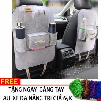 Yếm bao để đồ kiêm bảo vệ ghế ô tô N89 +Tặng gang tay lau xe đa năng(Xám)