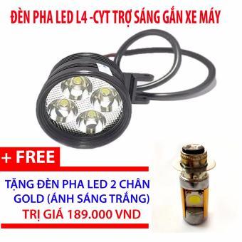 Đèn pha led L4-CYT trợ sáng gắn xe máy + đèn pha led 2 chân gold