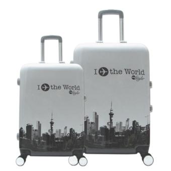 Bộ vali nhựa hình I Fly The World khóa chập đựng 7Kg và 20Kg màu trắng TA100