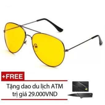 Kính mắt nam ngày và đêm Night View Glass (Vàng) + Tặng 1 dao ATM du lịch