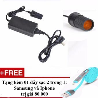 Bộ Chuyển Đổi Nguồn Điện 220V - Đầu Cắm Ô TÔ 12V/60W/5A - Tặng dây sạc điện thoại 2 in 1 Samsung và Iphone