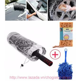 Bộ sản phẩm lau dọn vệ sinh nội ngoại thất xe hơi (Chổi sợi dầu nhỏ + Chổi lau dọn nội thất + Bọt biển lau xe)