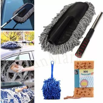 Bộ sản phẩm gồm chổi sợi dầu cỡ lớn và chổi chuyên dung và mút lau rửa xe cho ô tô cao cấp