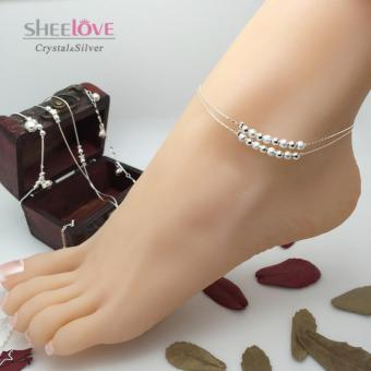Lắc chân nữ bạc hạt cườm may mắn xinh xắn SPJ-JY002(Bạc)