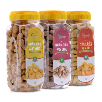 Bộ 3 sản phẩm hạt điều mật ong 300g + hạt điều rang muối 300g + hạt điều vỏ lụa 250g Vietnuts