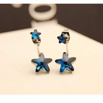 Bông tai nữ kiểu dáng hàn quốc 2 ngôi sao xinh xắn FC9112 (xanh)
