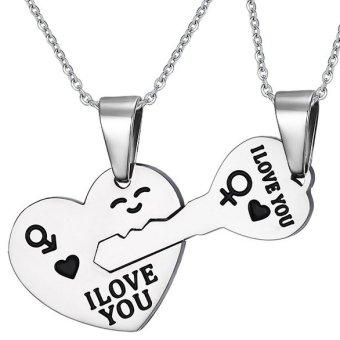 Dây chuyền đôi Inox Trái tim chìa khóa - ổ khóa