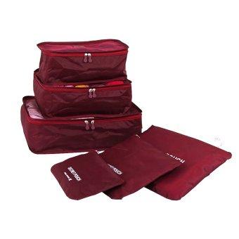 Bộ 6 Túi Đựng Đồ Du Lịch Chống Thấm Bag in Bag (Đỏ đô)