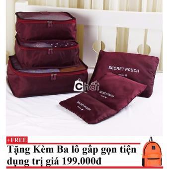 Bộ 6 túi du lịch chống thấm Bags in Bag (rượu vang) + Tặng kèm balo du lịch gấp gọn