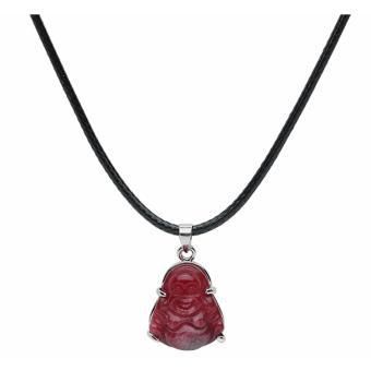 Mặt phật Di Lặc, đá đỏ Ruby, may mắn, bình an (Tặng kèm dây đeo)