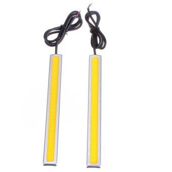 2xCOB Car LED 12V Daytime Running Light DRL Fog Driving Lamp Waterproof 14CM 8W Yellow (Intl)