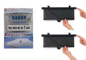 Bộ 1 bạt phủ bảo vệ xe 7 chỗ và 2 màn che nắng cửa sổ tự cuốn gọn SM134