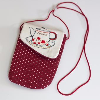 Túi đựng Hộ chiếu (Passport) Handmade Đeo Cổ - Ông Sao (Đỏ Đô + Chấm Bi)