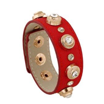 Vòng tay dây da đính đá (đỏ)