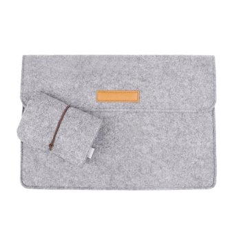 Ultra-thin Protective Felt Sleeve Envelope Case Pouch Bag for Apple New Macbook 12 inch with Charger Bag Light Grey - intl