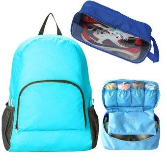 Bộ sản phẩm Ba lô du lịch + Túi đựng đồ lót + Túi đựng giày du lịch (Xanh)