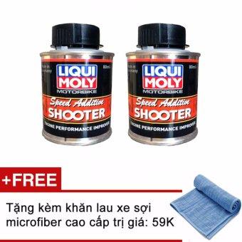 Bộ 2 chai Phụ gia tăng tốc tăng cường sức mạnh động cơ Liqui Moly Speed Additive Shooter 7915 80ml ( tặng kèm khăn xanh )