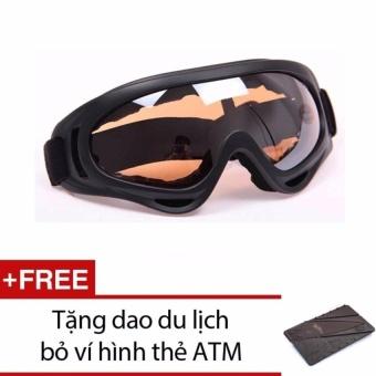 Mắt kính đi phượt chống bụi, chống tia UV (gọng Đen, kính cam) + Tặng dao đa năng