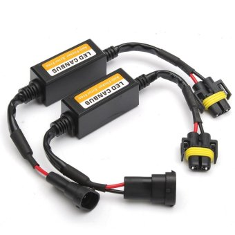 2x H11 LED Headlight Canbus Error Free Anti Flicker Resistor Canceller Decoder - intl