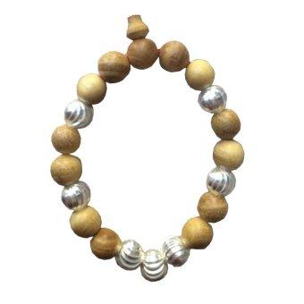 Vòng đeo tay gỗ dâu hạt bạc cho trẻ sơ sinh (7 hạt cho bé trai)