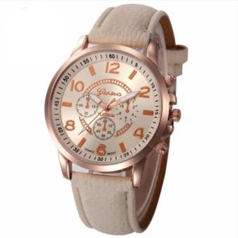 Đồng hồ nữ Unisex Geneva dây da (Kem)